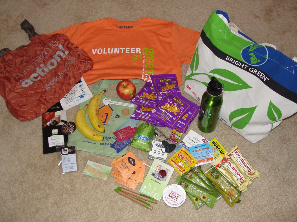 a pile of free things acquired from green festival dc 2012 on day 1