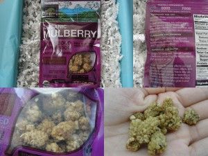 collage of kopali organics mulberries included in the july 2012 yuzen box