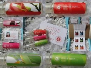 collage of lotus wei energy mists included in the july 2012 yuzen box - three scents: infinite love, joy juice, and quiet mind