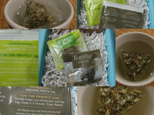 collage of teatulia teas included in the july 2012 yuzen box - lemongrass and white tea flavors
