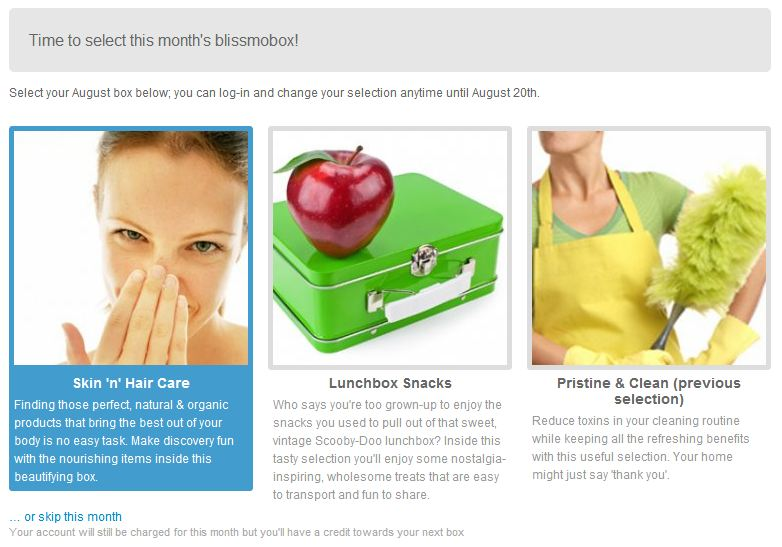 the choices for august's blissmobox: skin'n'hair care, lunchbox snacks, or pristine & clean