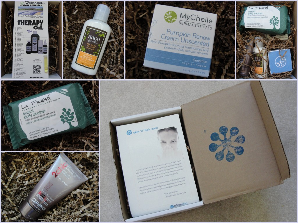 collage of august skin 'n' hair care blissmobox contents
