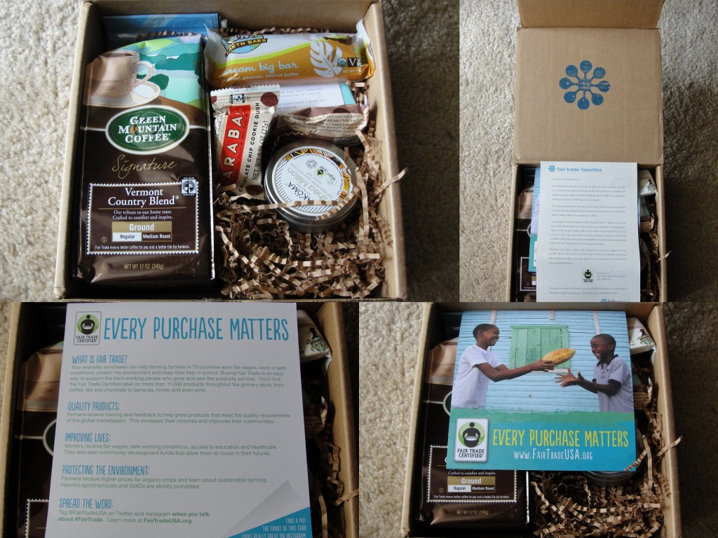 collage of september fair trade favorites ii blissmobox contents including green mountain coffee, eli's earth bar, hand in hand soap, two larabars, ecolips lip balm, and akoma shea butter