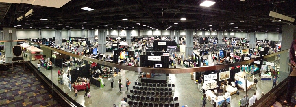 panoramic shot of green festival dc 2012 in hall b of washington convention center