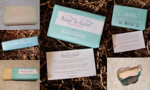 collage of hand in hand soap orange blossom soap bar