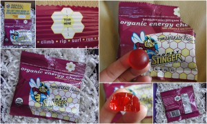 collage of honey stinger pomegranate passion organic energy chews included in the september 2012 yuzen box