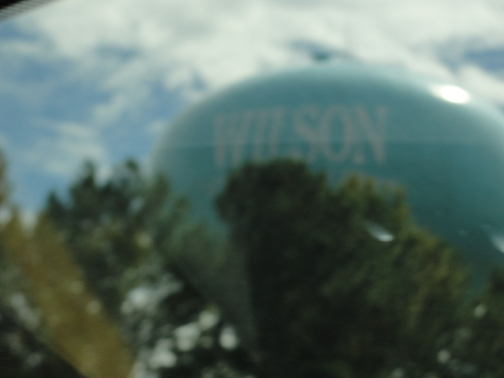 large blue water tower in the town of wilson