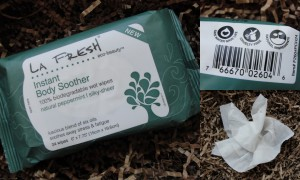 collage of la fresh eco-beauty instant body soother towelettes in natural peppermint scent