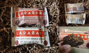 collage of larabar chocolate chip brownie & chocolate chip cookie dough bars