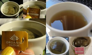 collage of organic india tulsi teas included in the august 2012 yuzen box brewing