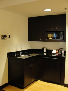 a small kitchenette in room at w hotel silicon valley