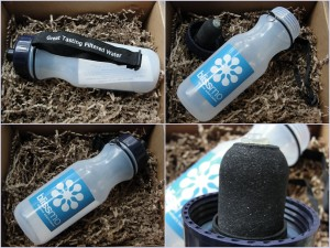 collage of bates water filtration bottle with blissmo branding