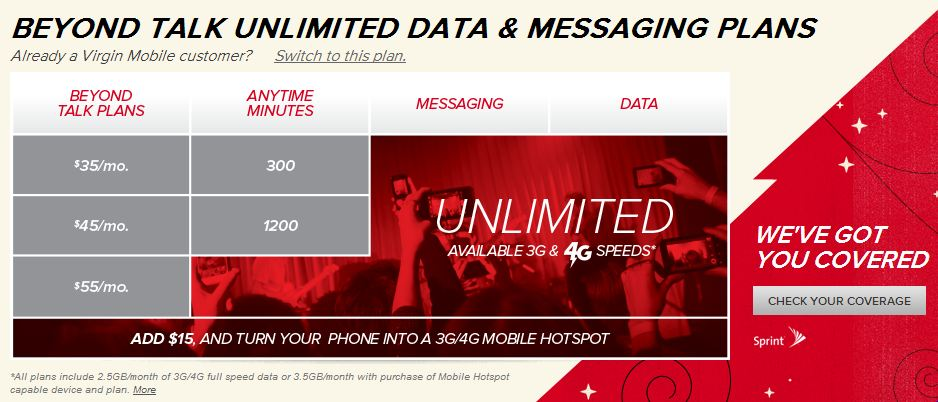 screenshot of virgin mobile usa phone plans