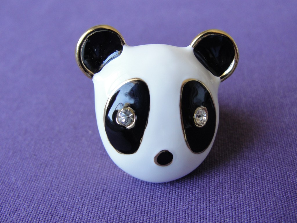giant metal panda face ring with gem eyes