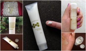 collage of red flower plum blossom silk cream & yuzu mimosa sea algae wash included in the october 2012 yuzen box