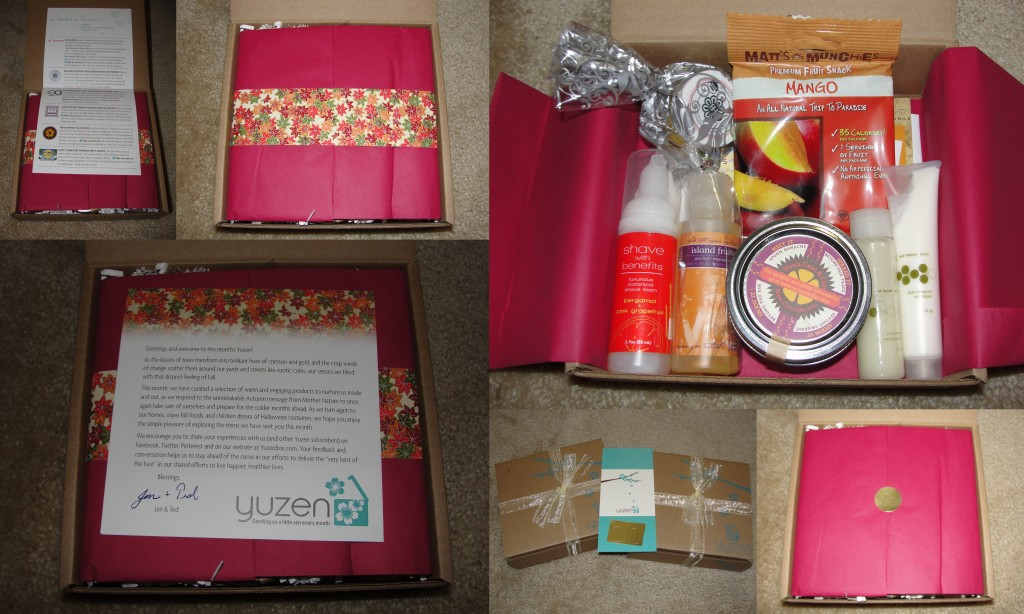 collage of products included in the october 2012 yuzen box