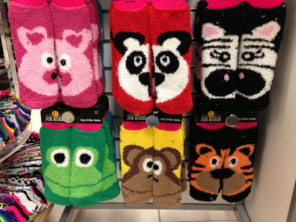 socks with half of animal face on one foot and half of face on other foot