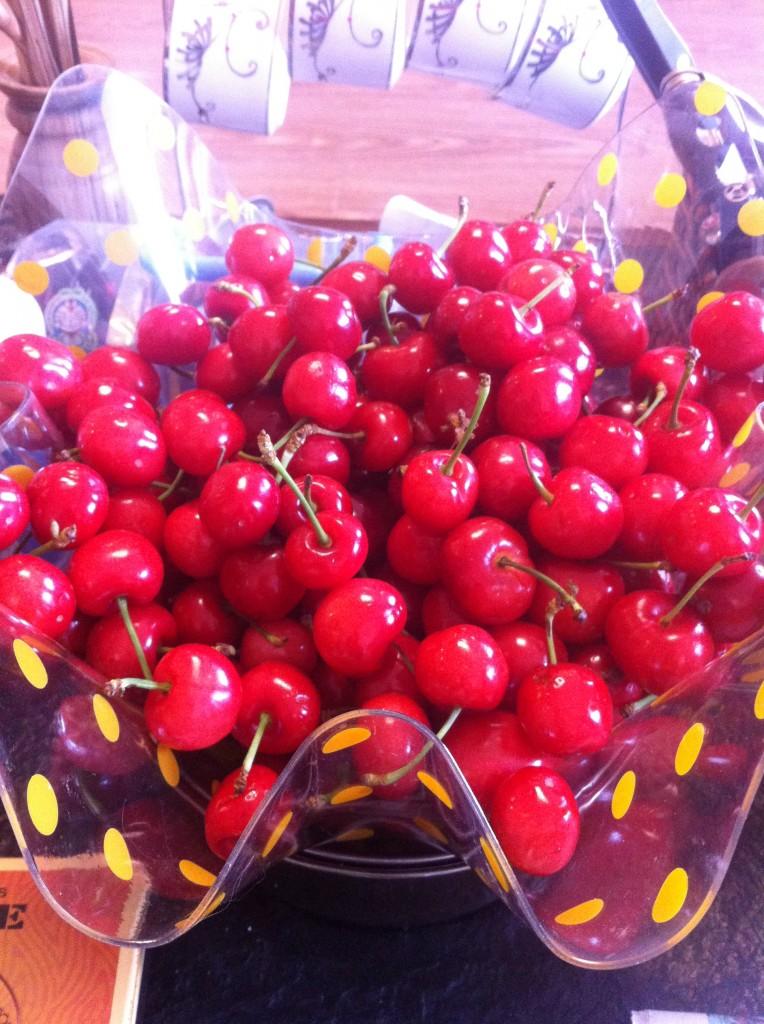 bowl of bright red cherries