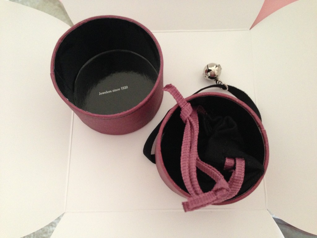 tous jewelry box opened to reveal bag inside