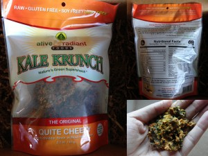 collage of alive & radiant foods kale krunch in quite cheezy