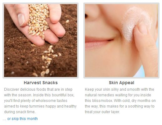 the choices for october's blissmobox: harvest snacks or skin appeal