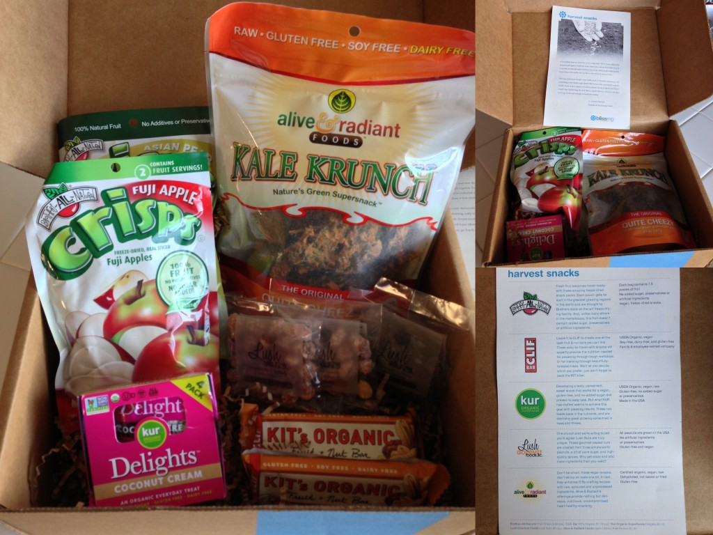 collage of october harvest snacks blissmobox contents including alive & radiant kale chips, kur delights coconut cream, brothers-all-natural crisps in asian pear and fuji apple, two clif kit's organic fruit & nut bars, and lush nuts in three flavors