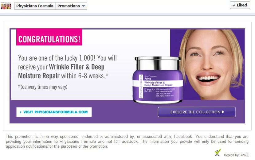 success page for those who got the free physician's formula product on facebook