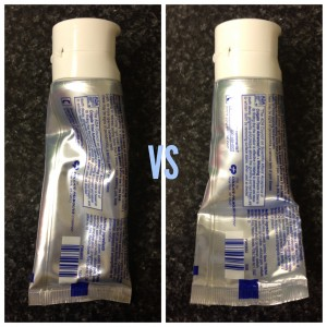 collage of toothpaste tubes squeezed randomly versus neatly