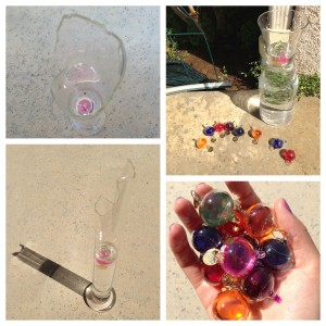 collage of broken galileo thermometer