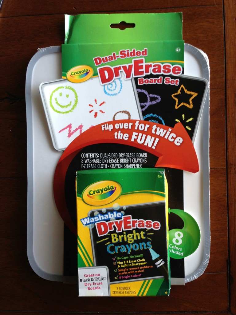 crayola dry erase board dual-sided black and white with set of dry erase crayons and wiping cloth