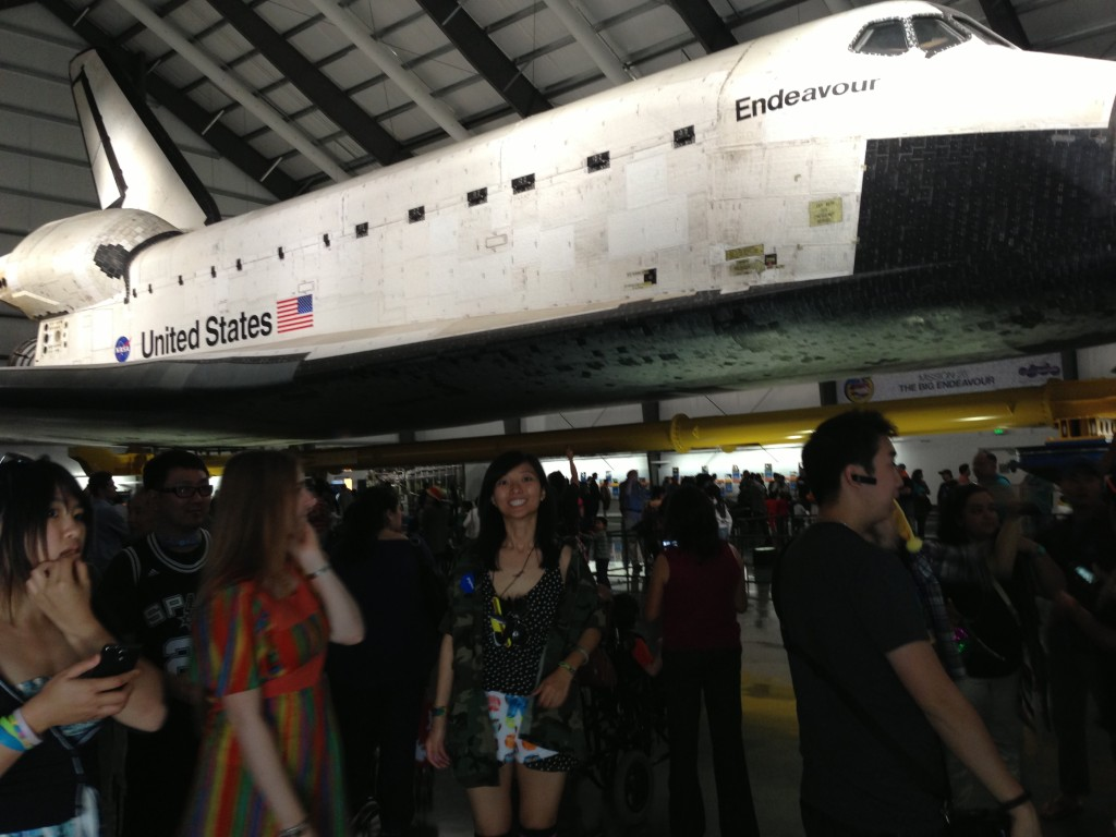 posing in front of endeavour space shuttle at california science center