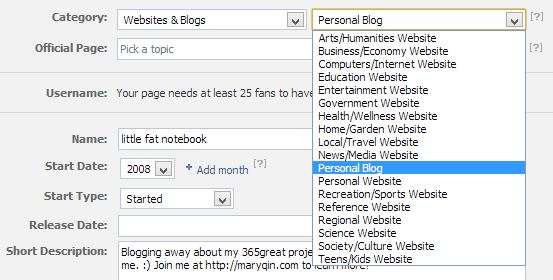 dropdown menu for facebook page subcategories