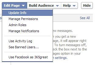dropdown menu to edit facebook page info