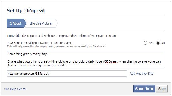 screenshot of page to set up about section of new facebook page