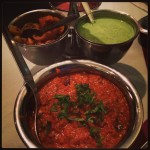 bowl of indian-style eggplant and dips for food