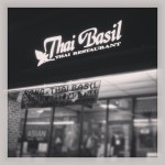black and white shot of thai basil restaurant where bobby flay had pad thai throwdown