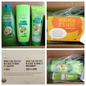 collage of garnier fructis hydra recharge hair treatment system from bzzagent