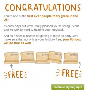 graze box congratulations welcome screen