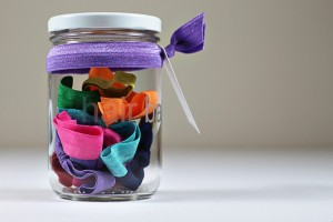glass jar with fold over elastic band hair ties
