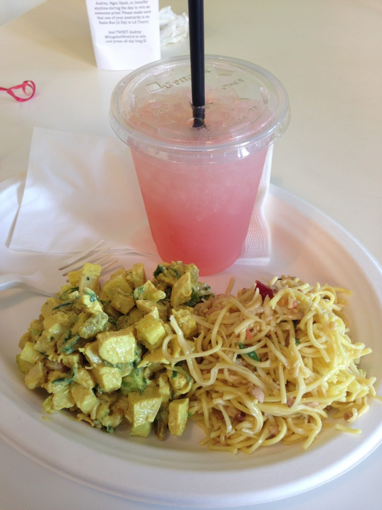 lemonade cafeteria meal with one side of soba noodles, one curry chicken entree, and a watermelon sage lemonade