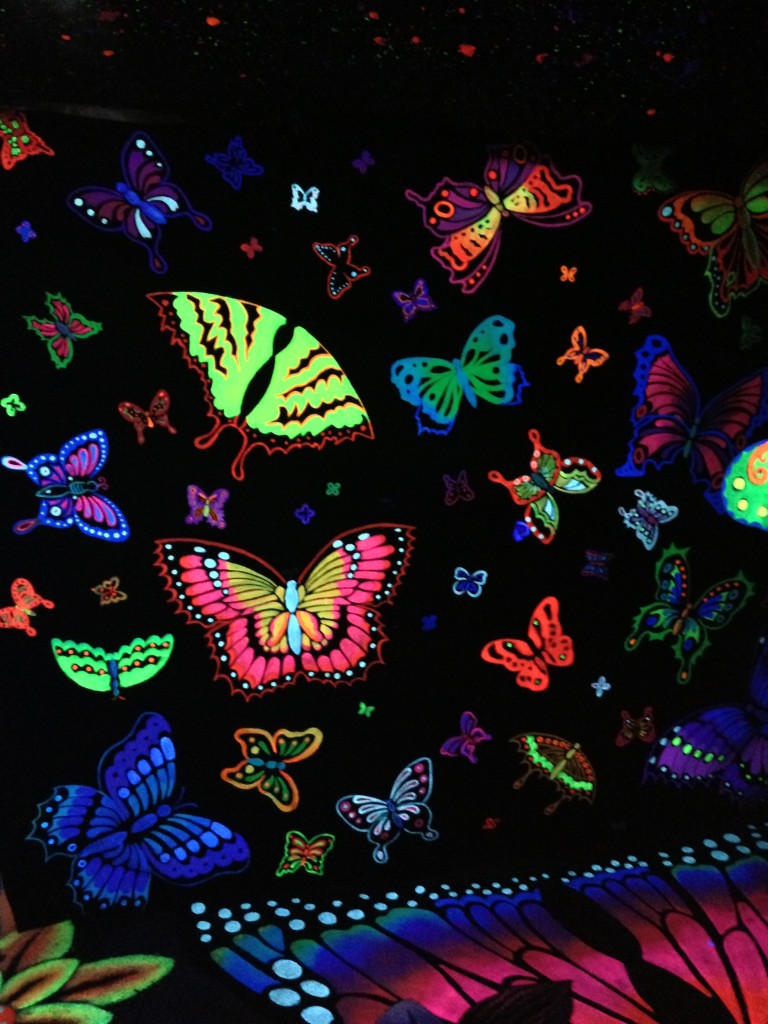 neon butterflies inside altervision 3d experience at la brewery art walk