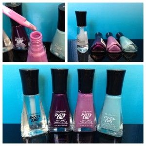 collage of sally hansen insta-dri nail colors in clearly quick, pronto purple, lively lilac, and blue-away