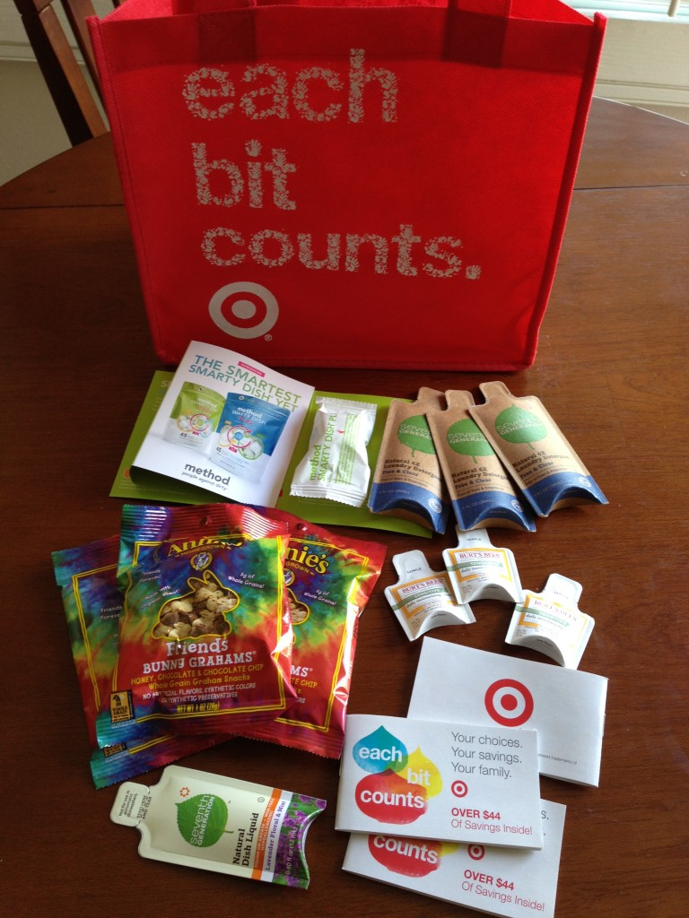 target earth day haul with reusable bag and samples from eco-friendly brands