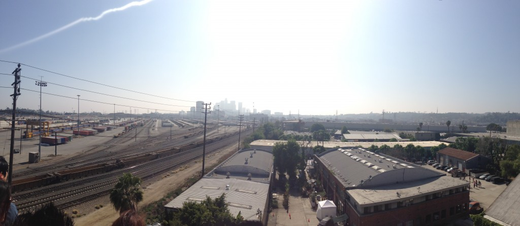 view of downtown los angeles from loft in la brewery district