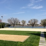 Bocce ball and beach volleyball courts from ground level.