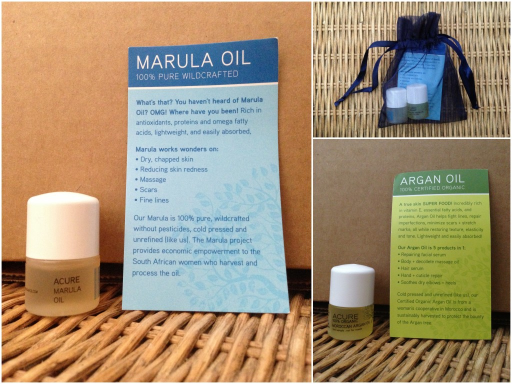 collage of acure marula oil and argan oil included in the summer 2013 yuzen box
