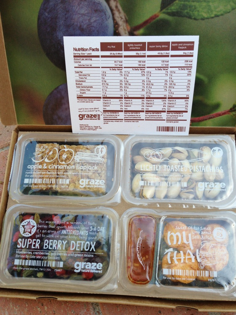 my first graze box with my thai, lightly toasted pistachios, super berry detox, and apple & cinnamon flapjacks