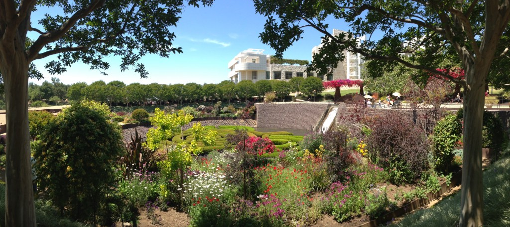 panoramic shot of getty garden area view