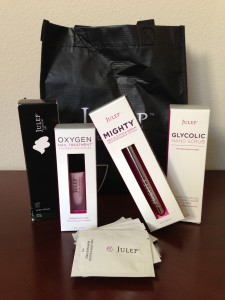 julep products including lotion, hand scrub, oxygen nail treatment, cuticle serum, and nail polish remover pads