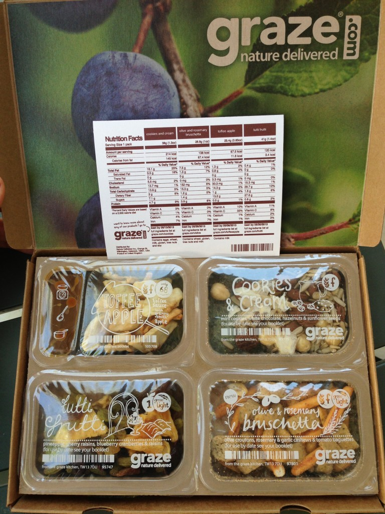 my second graze box with toffee apple, olive & rosemary bruschetta, cookies & cream, and tutti frutti
